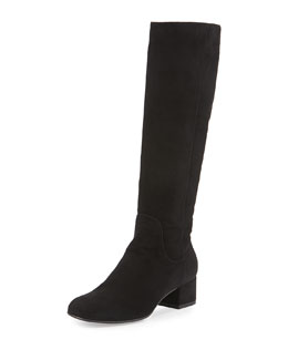 Larkin Square-Toe Suede Knee Boot