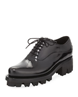 Lace-Up Leather Creeper Shoe, Black