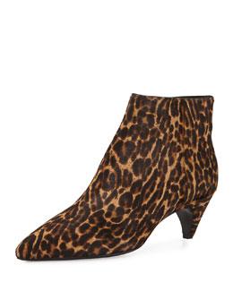 Leopard-Print Calf Hair Kitten-Heel Bootie