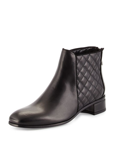 Lacey Quilted Leather Boot, Black