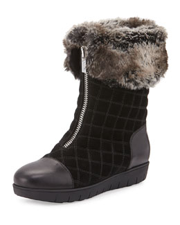 Wanda Quilted Suede Faux-Fur-Trimmed Boot