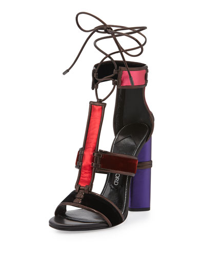 Multicolor Patchwork Leather & Velvet Sandal