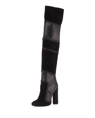 Suede & Napa Over-the-Knee Boot, Black