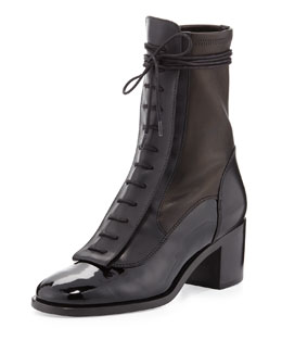 Inde Lace-Up Combo Leather Mid-Calf Boot