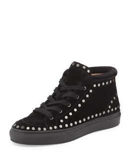 Hugh Studded Suede Mid-Top Sneaker