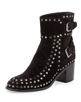 Gatsby Studded Buckled Ankle Boot