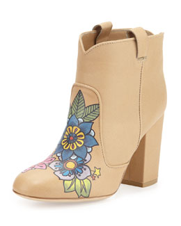 Pete Tattoo-Print Leather Bootie, Nude/Multi