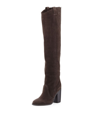 Silas Split-Calf Western-Style Knee Boot, Anthracite