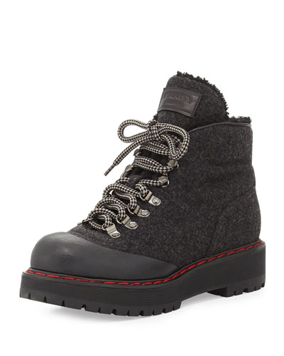 Felt Lace-Up Shearling Fur-Lined Combat Boot
