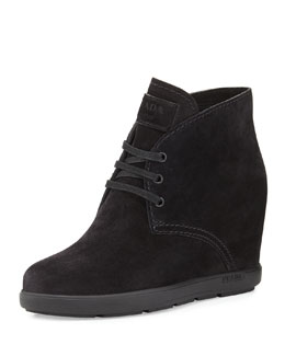 Suede Desert Wedge Boot, Black (Nero)