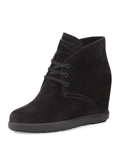 Suede Desert Wedge Boot, Black (Nero)