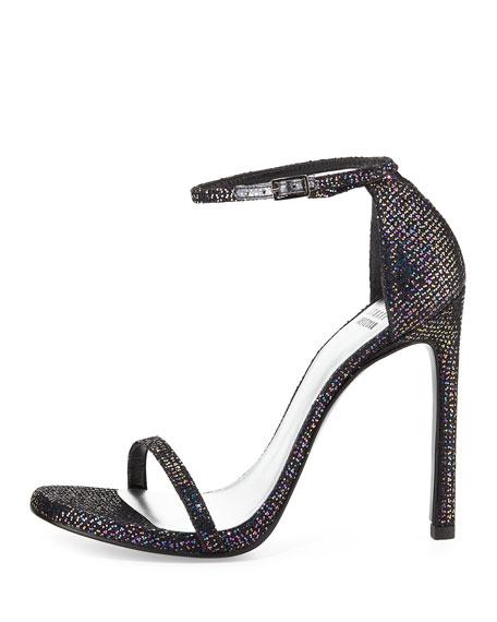 Nudist Ankle-Strap Glitter Sandal