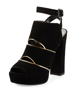 Otherhalf Metallic-Trimmed Ankle-Wrap Bootie