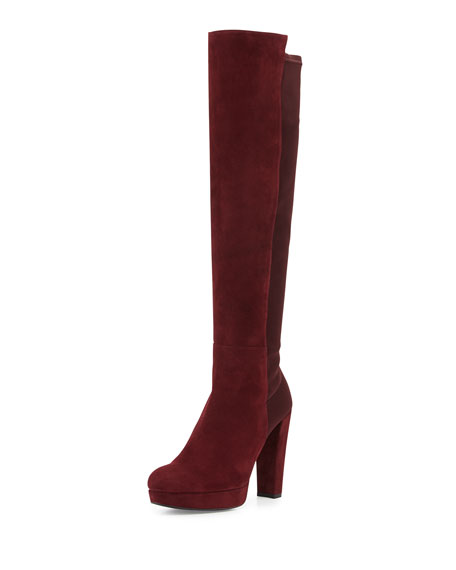Nudemiswoon Platform Knee Boot, Currant
