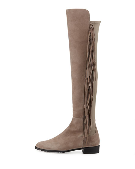 Mane Fringe Over-the-Knee Suede Boot, Taupe