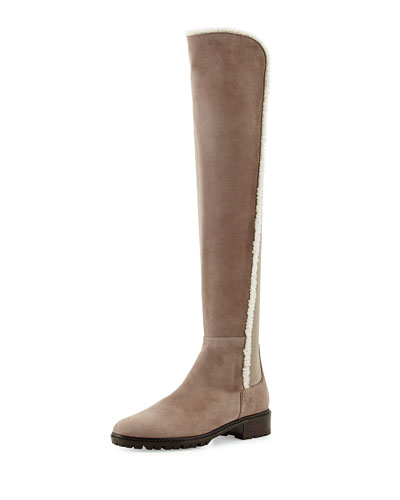 Parka Shearling-Trimmed Suede Over-The-Knee Boot