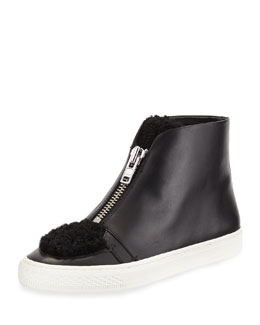 Devin Leather High-Top Sneaker w/ Shearling Fur Trim