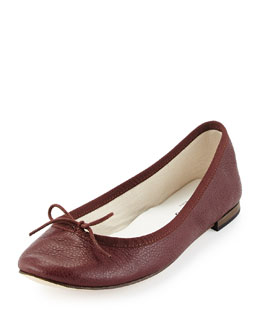 Cendrillon Pebbled Leather Ballet Flat, Burgundy