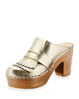 Metallic Leather Kiltie Clog