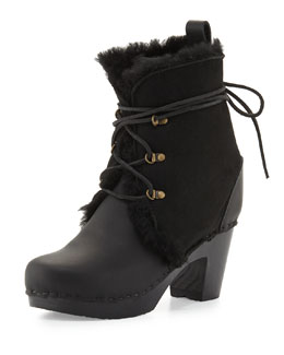 Gonzalez Leather & Shearling Fur Lace-Up Bootie