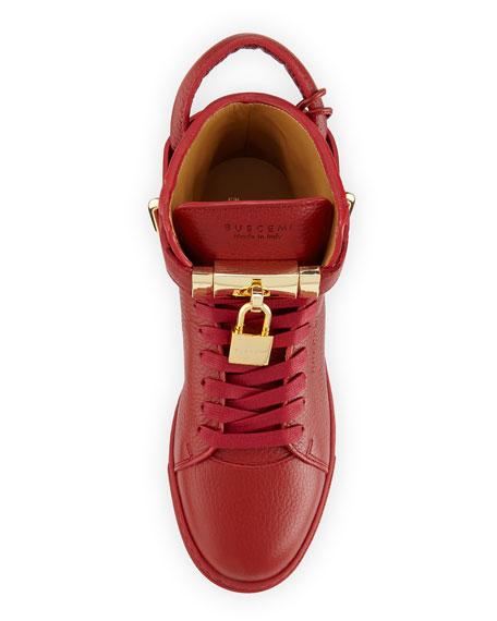Padlock & Key Pebbled Leather Sneaker, Red
