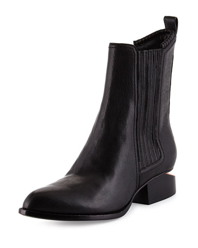Anouk Leather Tilt-Heel Bootie, Black