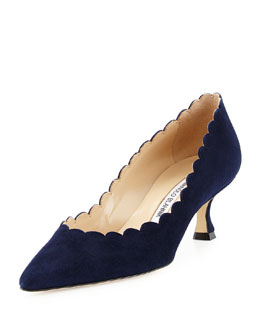 Srilasca Scalloped Suede Pump