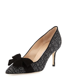 Contina Tweed Bow Pump, Black/White