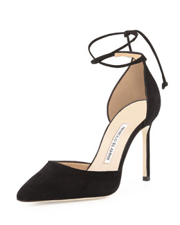 Leyan Suede Ankle-Wrap Point-Toe Pump