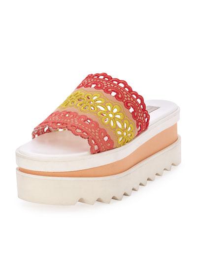 Colorblock Eyelet Platform Sandal, Rose