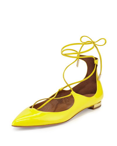 Christy Lace-Up Point-Toe Flat, Lemon