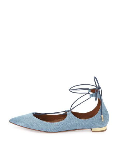 Christy Lace-Up Point-Toe Flat, Light Blue