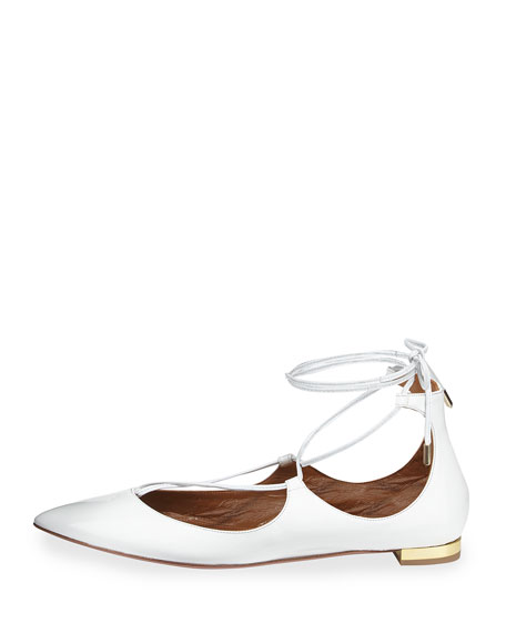 Christy Lace-Up Point-Toe Flat, White