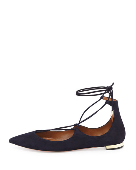Christy Lace-Up Point-Toe Flat, Ink