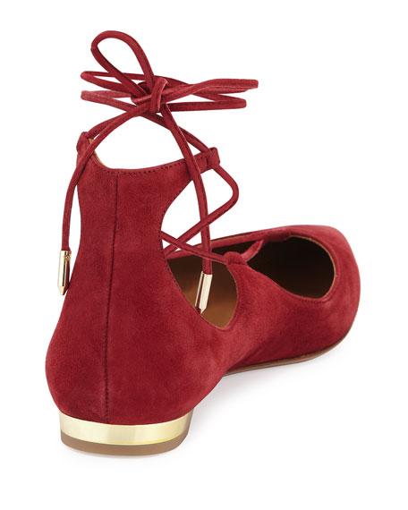 Christy Lace-Up Point-Toe Flat, Pomegranate