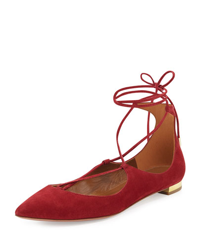 Christy Lace-Up Point-Toe Flat, Pomegranate