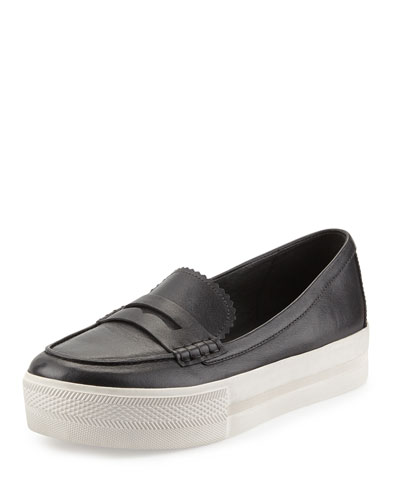 Juno Platform Penny Loafer, Black