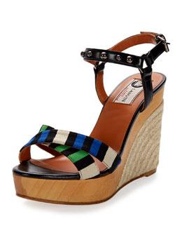 Striped Espadrille Wedge Sandal, Electric Blue