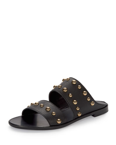 Studded Leather Two-Band Mule, Black