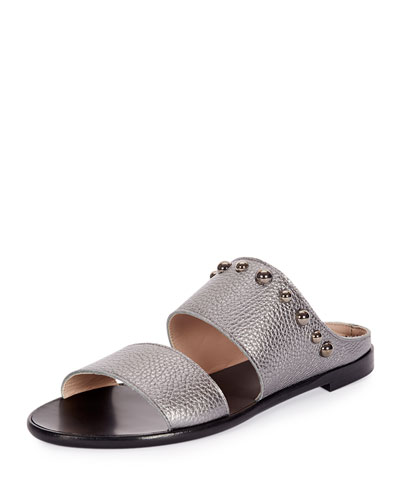 Studded Leather Two-Band Sandal
