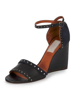 Studded Leather/Suede Wedge Sandal, Black