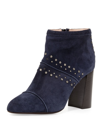 Studded Suede Ankle Bootie