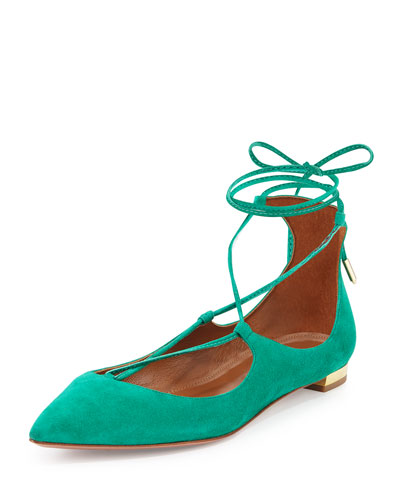 Christy Lace-Up Point-Toe Flat, Watermelon Green
