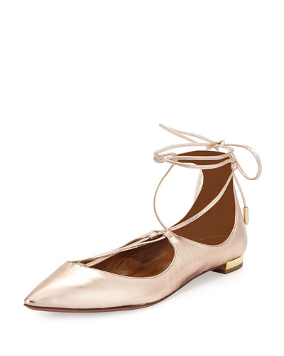 Christy Lace-Up Pointed-Toe Flat, Quarzo