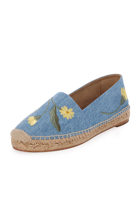 Floral-Embroidered Denim Espadrille, Sky Blue