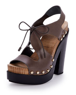 Leather Lace-Front Sandal