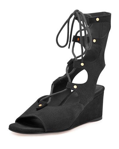 Suede Gladiator Demi-Wedge Sandal, Black