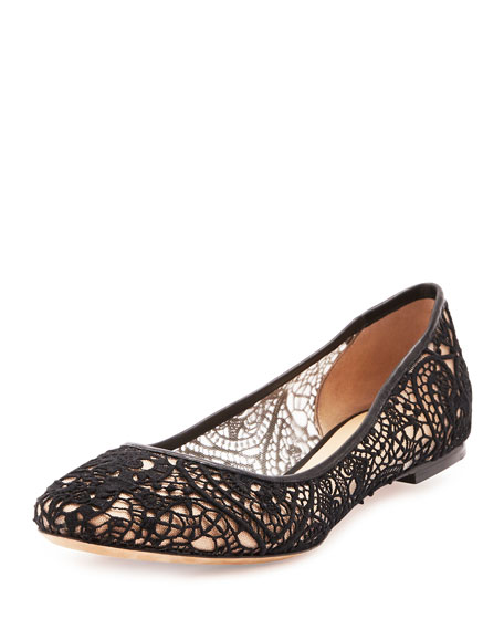 Scalloped Lace Ballerina Flat, Black
