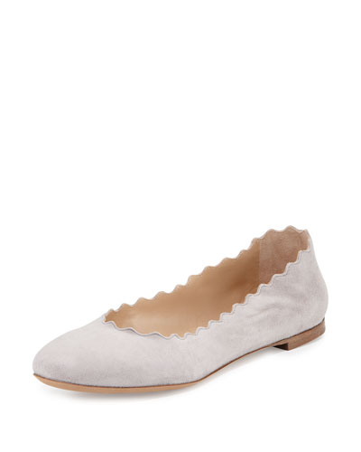 Scalloped Suede Ballerina Flat, Elephant Gray