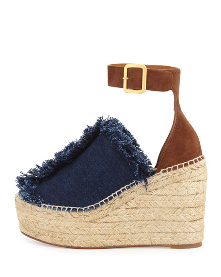 Chloe Frayed Denim Espadrille Wedge Sandal